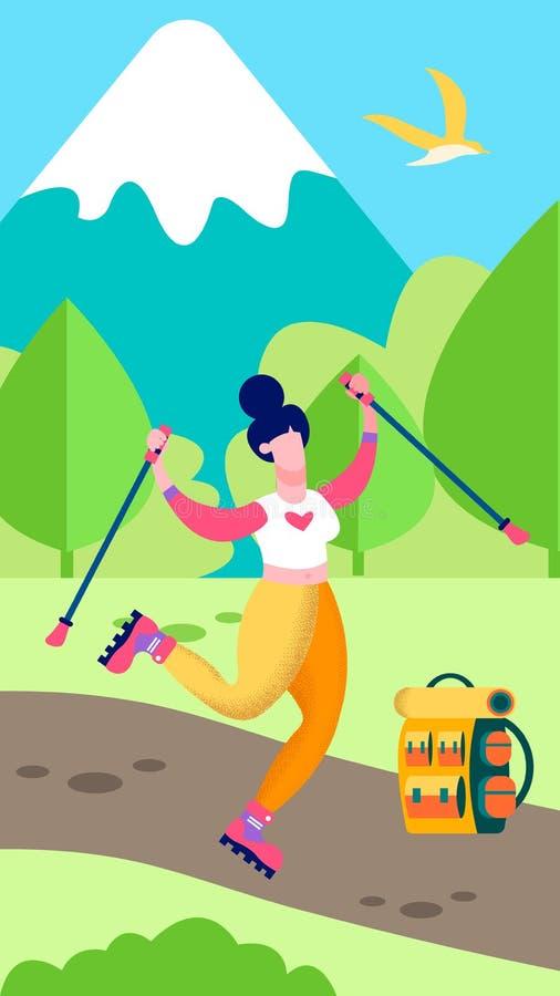 Lycklig kvinna i bergminnen i sociala berättelser vektor illustrationer