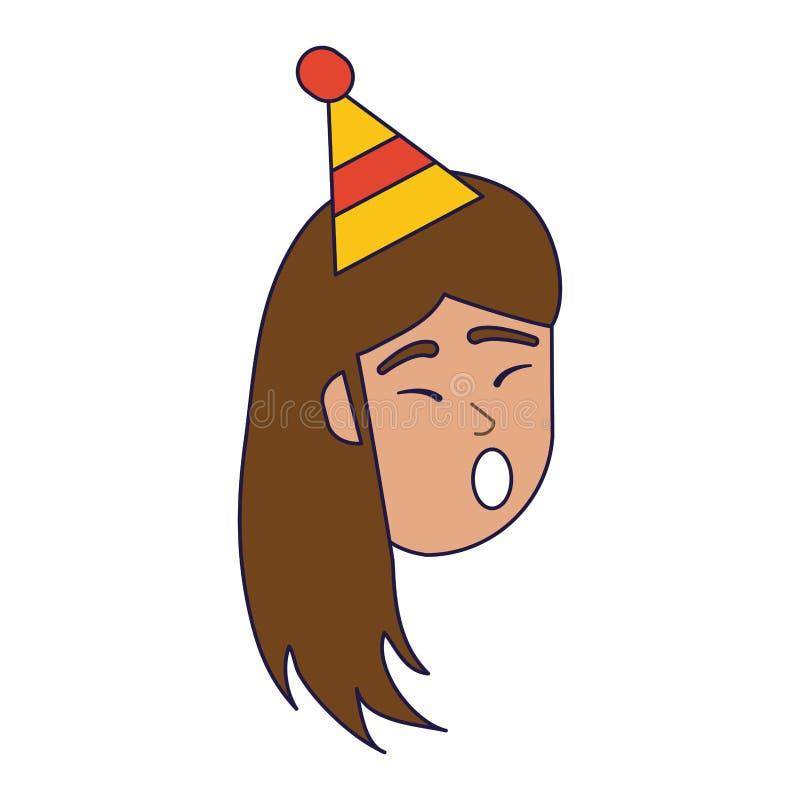 Lycklig kvinna i födelsedagtecknad filmblålinjen royaltyfri illustrationer
