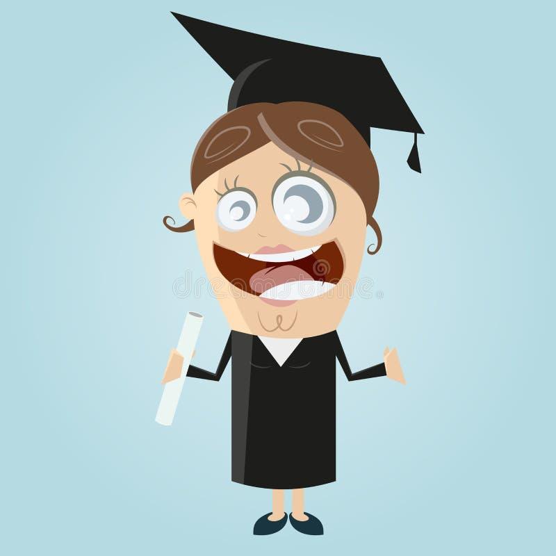 Lycklig kvinna med grad stock illustrationer