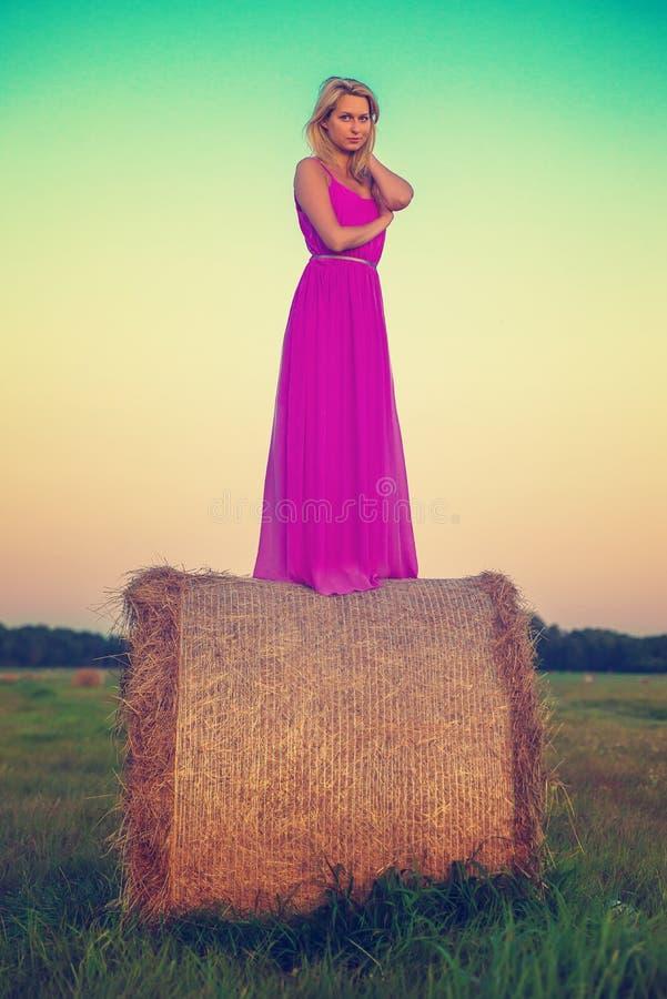 Lycklig kvinna med hö i ängfält arkivbild