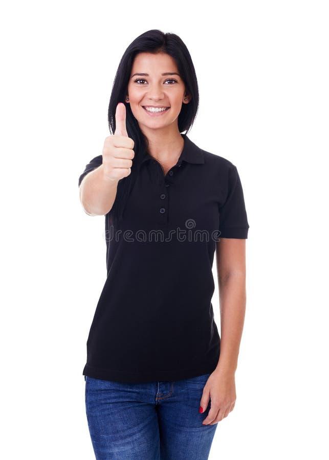 Lycklig kvinna med tumen upp royaltyfri bild