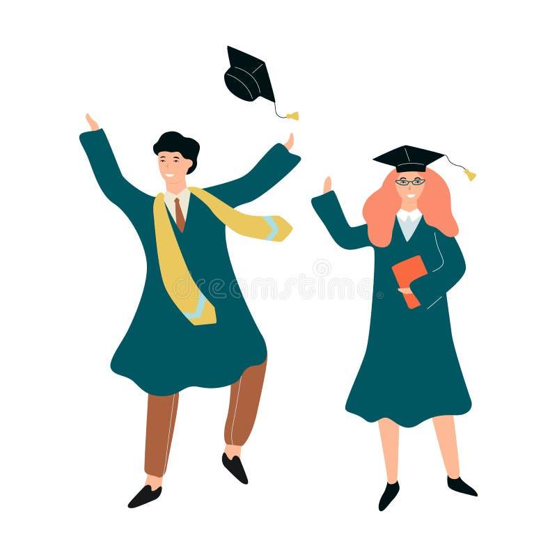 Lycklig kvinna och man i avläggande av examenkappa vektor illustrationer