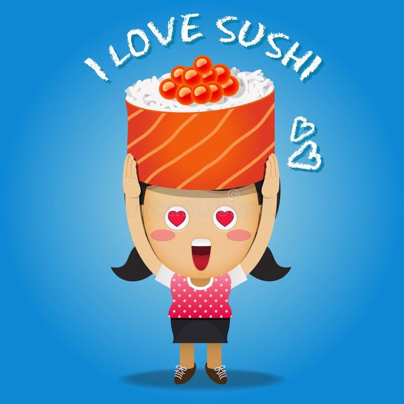 Lycklig kvinna som bär den stora sushi royaltyfri illustrationer