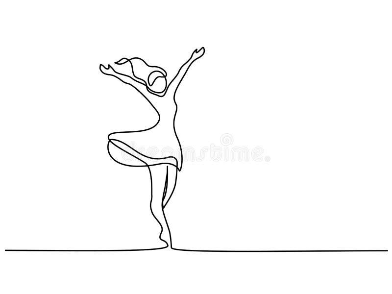 Lycklig kvinna som sträcker den fortlöpande en linjen teckning stock illustrationer