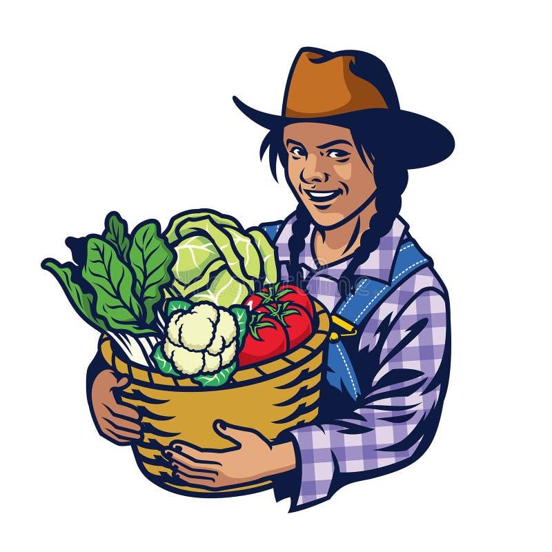 Lycklig kvinnabondehåll som en hink av grönsaker kantjusterar mycket vektor illustrationer
