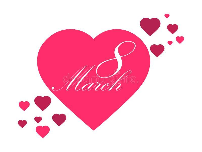 Lycklig kvinnadag 8 marsch dagmamma s Hälsningkort med hjärtor, banret och affischen Typografidesign vektor vektor illustrationer