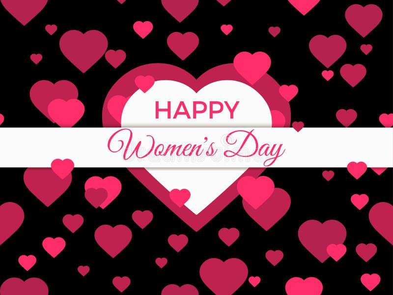 Lycklig kvinnadag 8 marsch dagmamma s Hälsningkort med hjärtor, banret och affischen Typografidesign vektor royaltyfri illustrationer