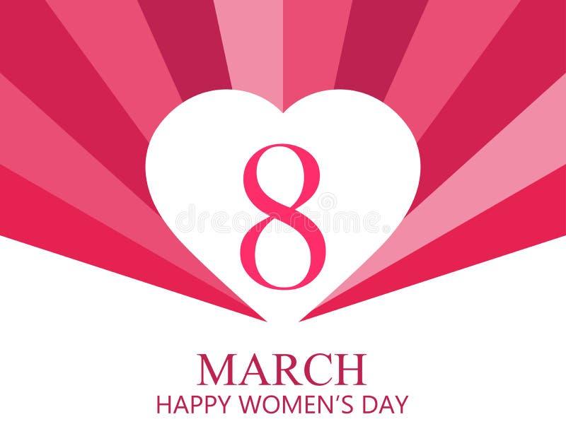Lycklig kvinnadag 8 marsch dagmamma s Hälsningkort med hjärtor, banret och affischen Typografidesign vektor stock illustrationer