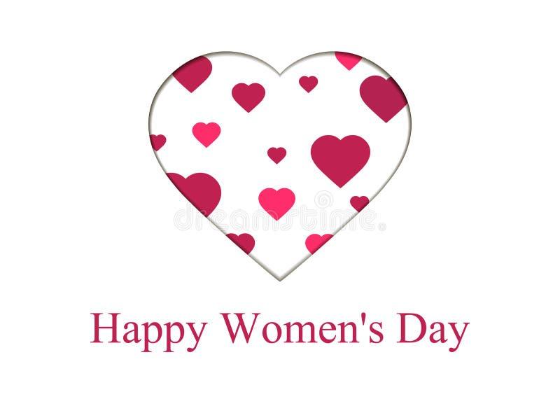 Lycklig kvinnadag 8 marsch dagmamma s Hälsningkortet med papper klippte hjärtor, banret och affischen Typografidesign vektor royaltyfri illustrationer