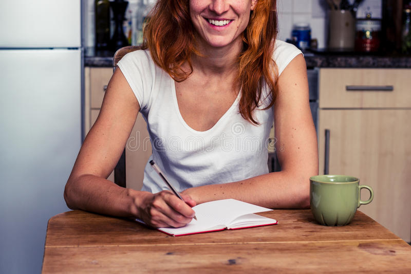 Lycklig kvinnahandstil i hennes kök royaltyfria foton