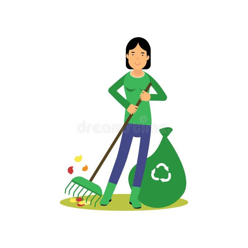 Lycklig kvinnalokalvård och krattasidor, räddning gör grön världen, ekologiskt begrepp royaltyfri illustrationer