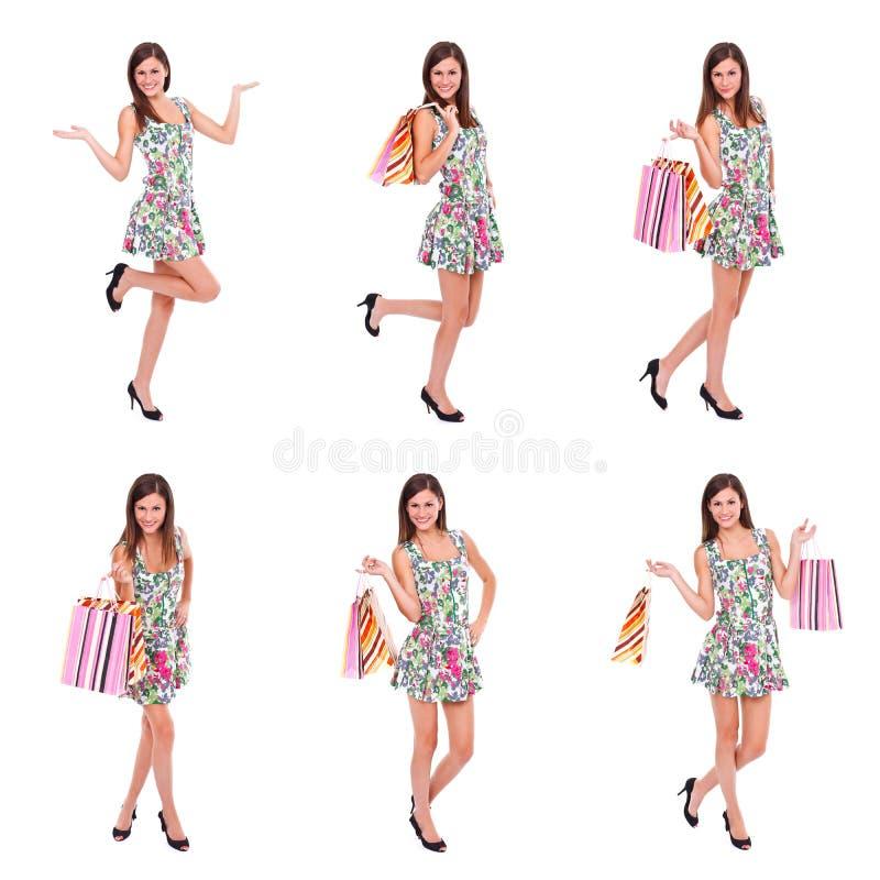 Lycklig kvinnashopping, collage royaltyfria bilder