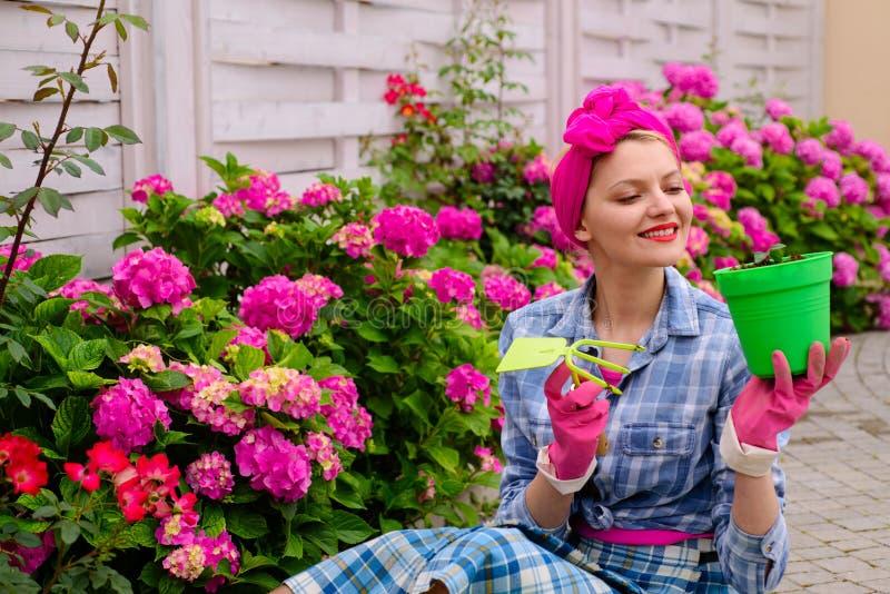 lycklig kvinnaträdgårdsmästare med blommor Omsorg och bevattna för blomma jorder och gödningsmedel Växthusblommor kvinnaomsorg av arkivfoton