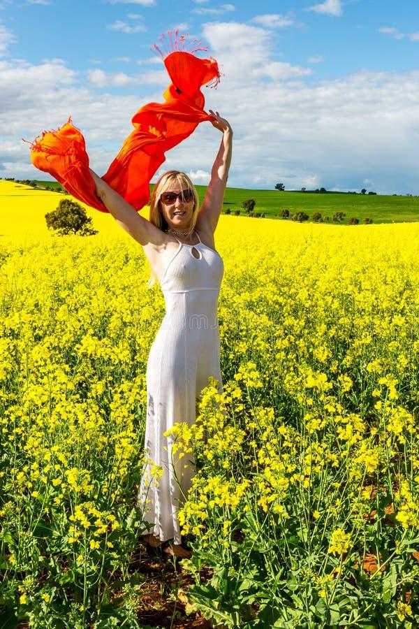 Lycklig kvinnlig i fältet av guld- blommor, piff för liv arkivfoton