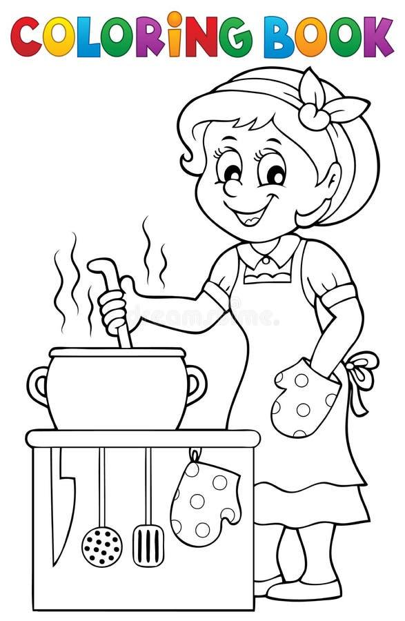 Lycklig kvinnlig kock för färgläggningbok vektor illustrationer