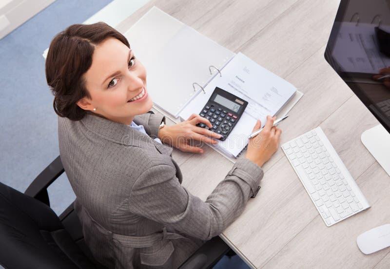 Lycklig kvinnlig revisor royaltyfri foto