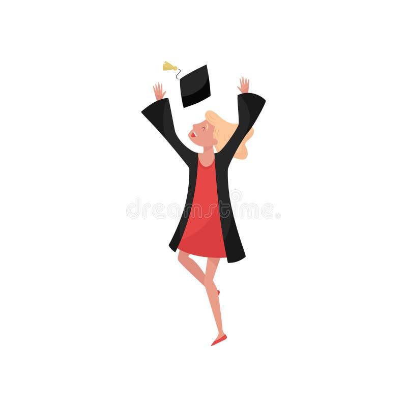 Lycklig kvinnligkandidat som ler avläggande av examenflickastudenten i kappa som kastar illustrationer för avläggande av examenlo royaltyfri illustrationer