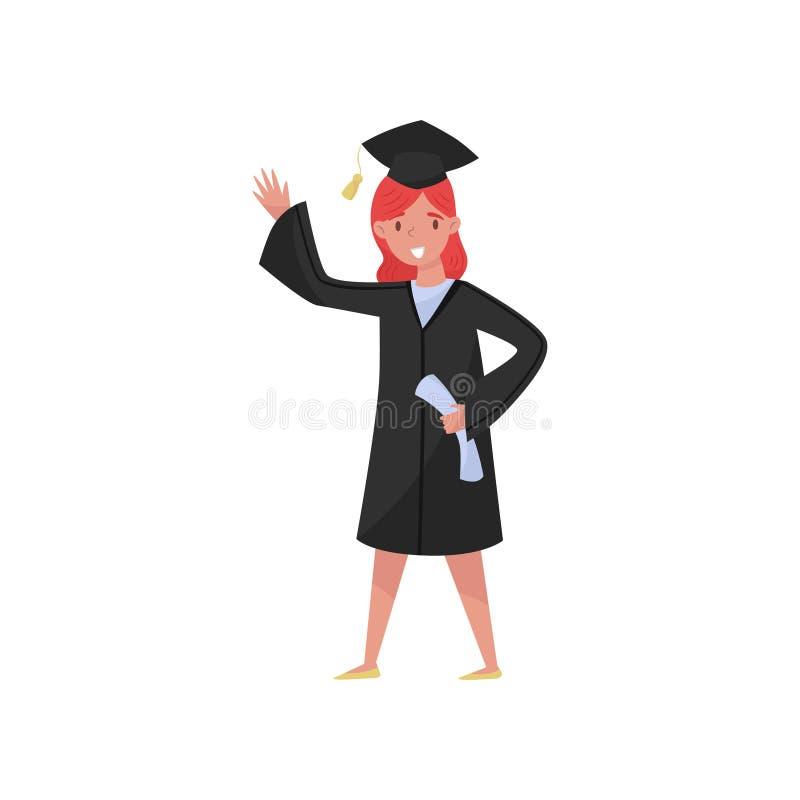 Lycklig kvinnligkandidat som ler avläggande av examenflickastudenten i kappan och locket som vinkar hennes handvektorillustration royaltyfri illustrationer