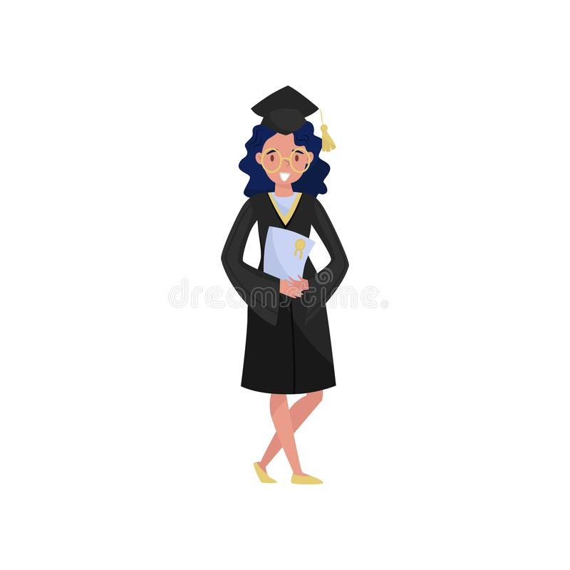 Lycklig kvinnligkandidat som ler avläggande av examenstudentflickan i hållande diplom för kappa och för lock i henne handvektoril stock illustrationer