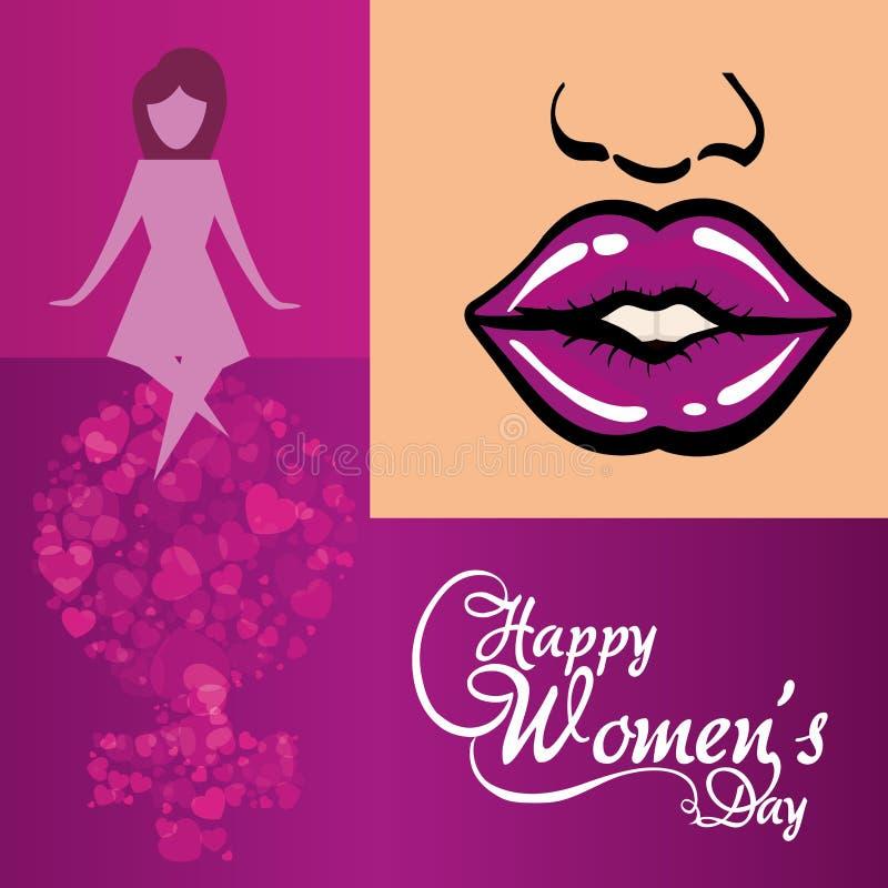 lycklig kvinnors affisch för dagkreativitet vektor illustrationer