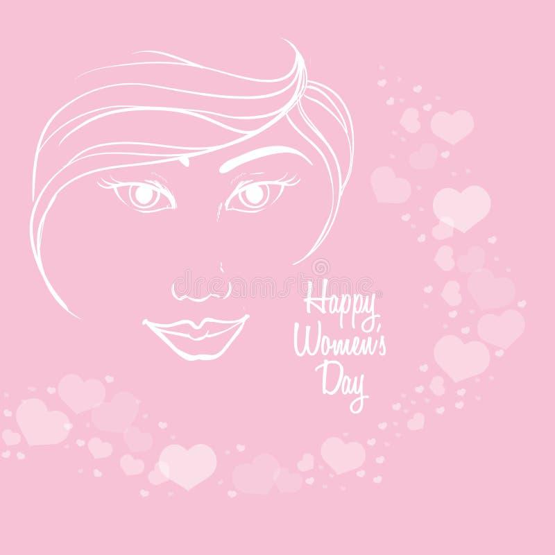lycklig kvinnors bakgrund för hjärta för flicka för framsida för dagkontur royaltyfri illustrationer