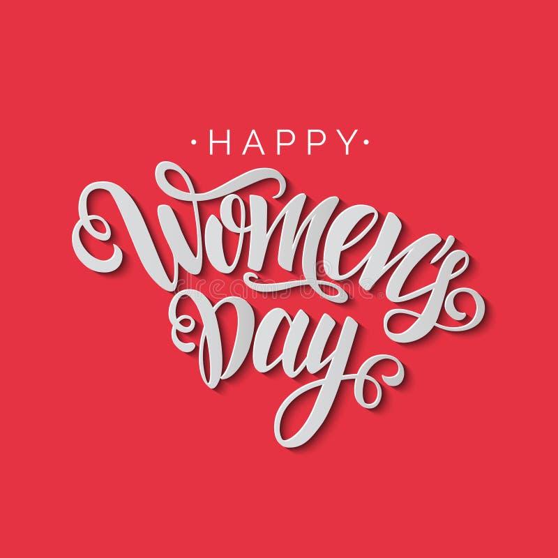 Lycklig kvinnors bokstäver för skrift för dagvektor på röd bakgrund Isolerat typografitryck Hand dragen clipart stock illustrationer