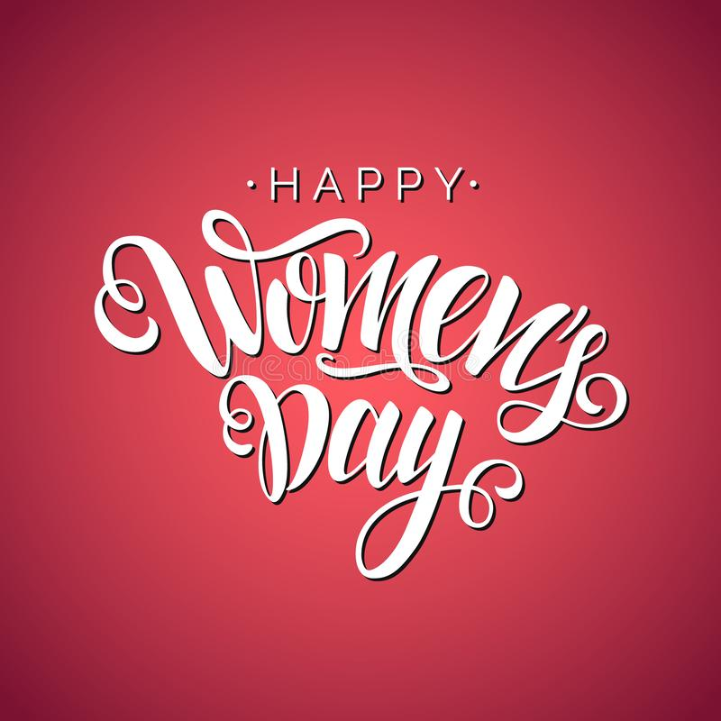 Lycklig kvinnors bokstäver för skrift för dagvektor på röd bakgrund Isolerat typografitryck Hand dragen clipart royaltyfri illustrationer