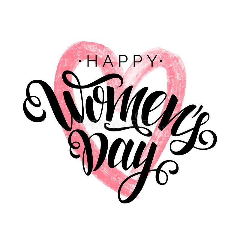 Lycklig kvinnors bokstäver för skrift för svart för dagvektor på vit bakgrund med rosa hjärta Isolerat typografitryck vektor illustrationer