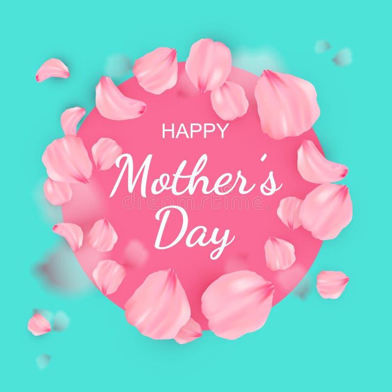 Lycklig kvinnors dagaffisch eller baner för moders dag royaltyfri illustrationer