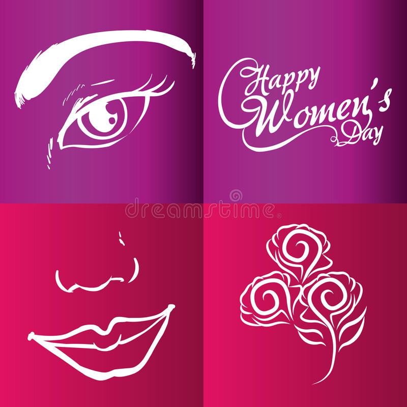lycklig kvinnors dagbroschyr vektor illustrationer
