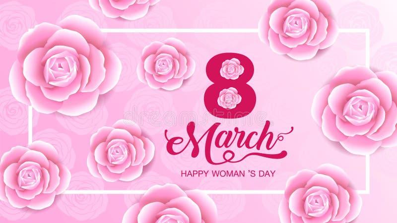 Lycklig kvinnors dagferie 8 mars, utklipp för flickahuvudkontur, blommabakgrund baner hälsningkort, affisch, vektor stock illustrationer