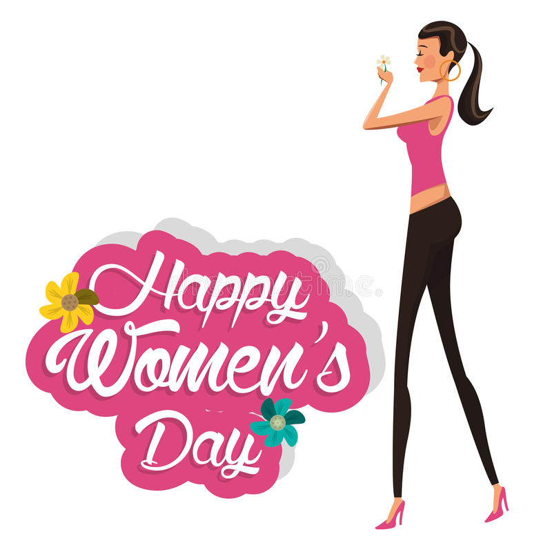 Lycklig kvinnors dagflicka med blomman vektor illustrationer