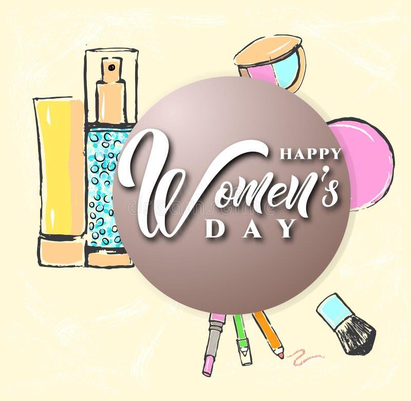 Lycklig kvinnors design för dagtext med kosmetiska produkter också vektor för coreldrawillustration stock illustrationer