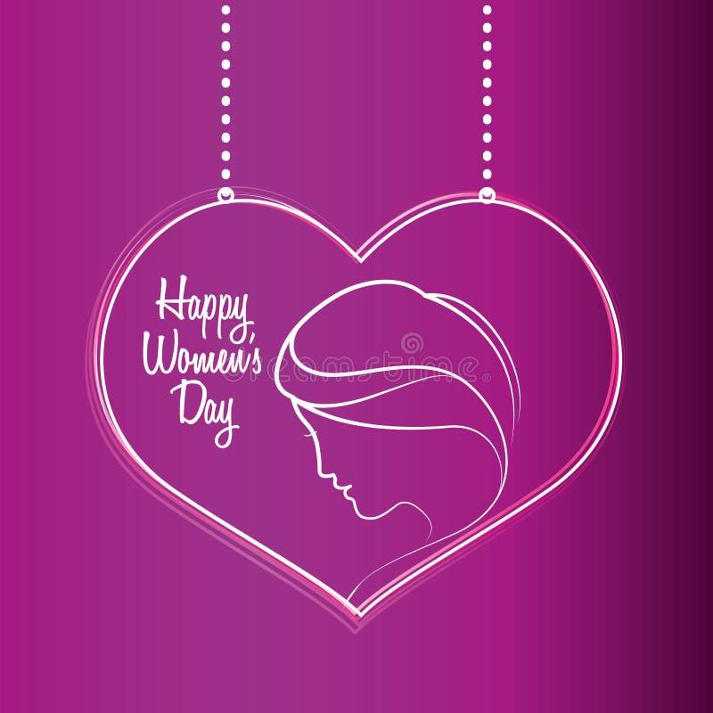 lycklig kvinnors hängning för purpurfärgad hjärta för dag vektor illustrationer