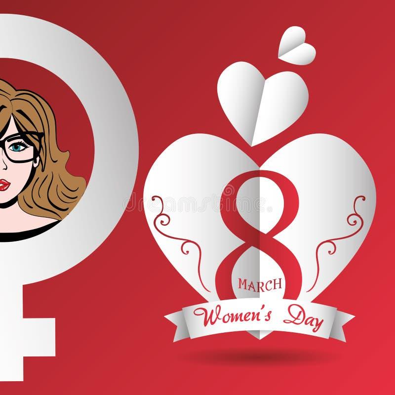 lycklig kvinnors marsch 8 för hjärtor för dagkort royaltyfri illustrationer