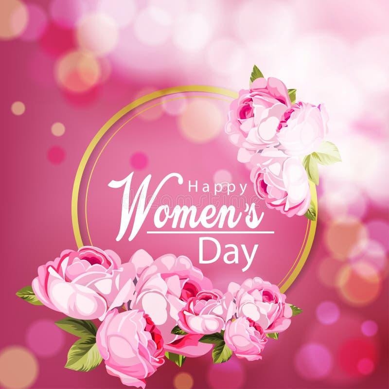 Lycklig kvinnors vektor för dagbakgrund med den härliga blomman royaltyfri bild