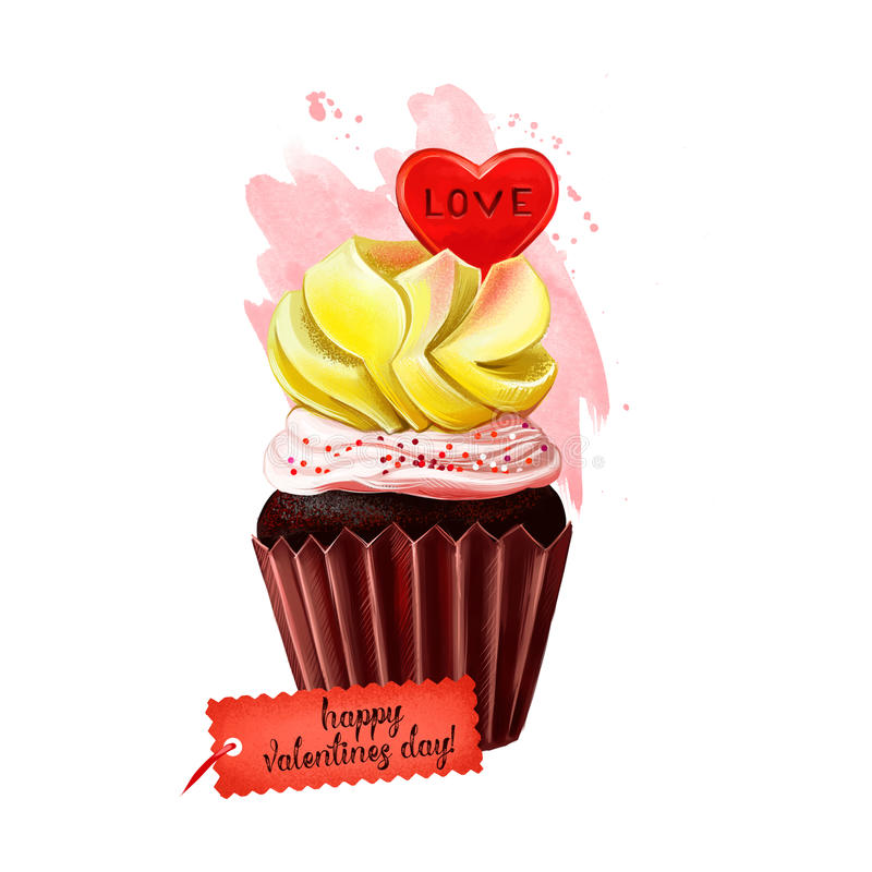 Lycklig läcker kaka för valentindag med förälskelsehjärta överst Muffin för söt feriegåva Kex med kräm och stock illustrationer