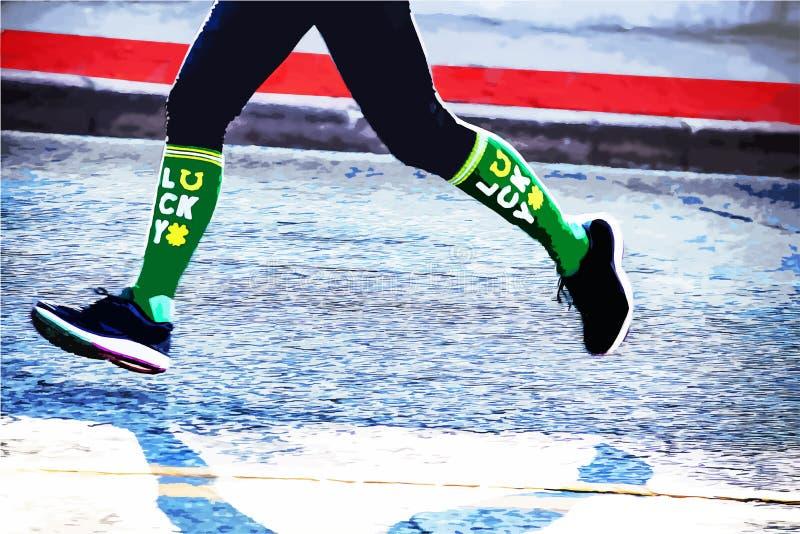 Lycklig löpare - ben och fot av maratonjoggeren i Sts Patrick daglopp med gröna lyckliga sockor arkivbild