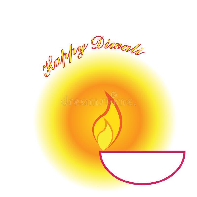 Lycklig lampa för diya för Diwali hälsningkort stock illustrationer