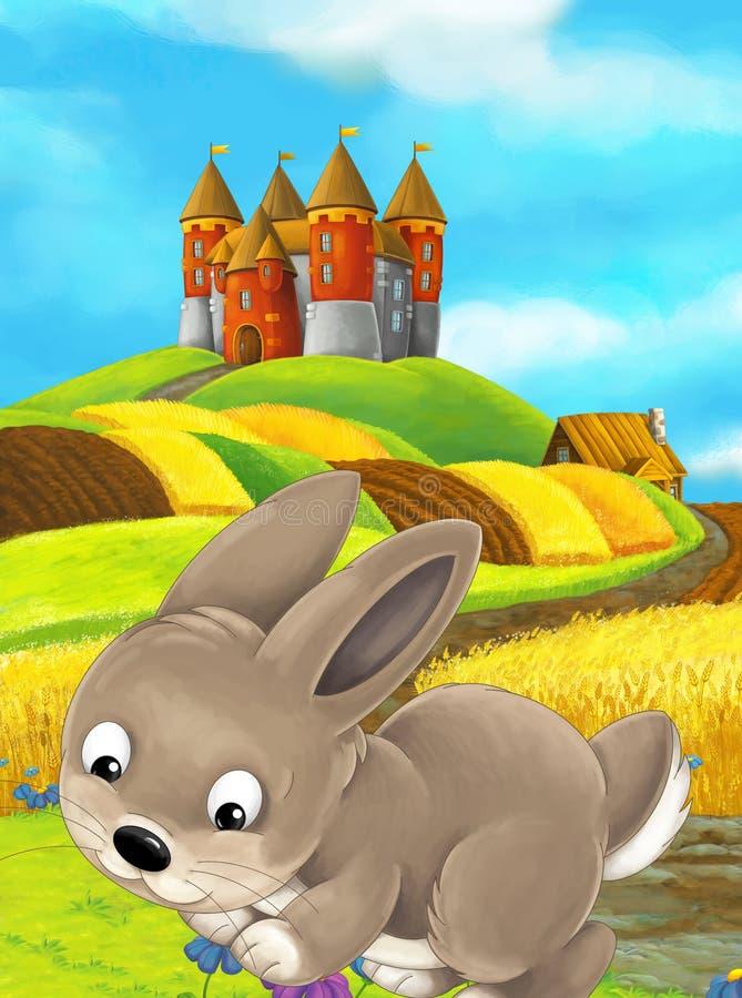 Lycklig lantgårdplats för tecknad film med gullig kanin och slotten i baksidan royaltyfri illustrationer