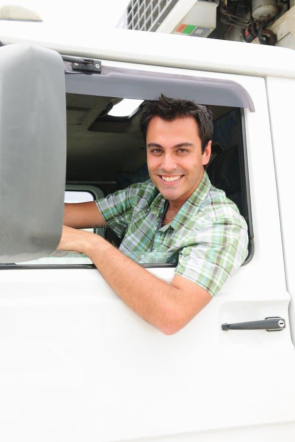 lycklig lastbil för chaufför royaltyfri bild