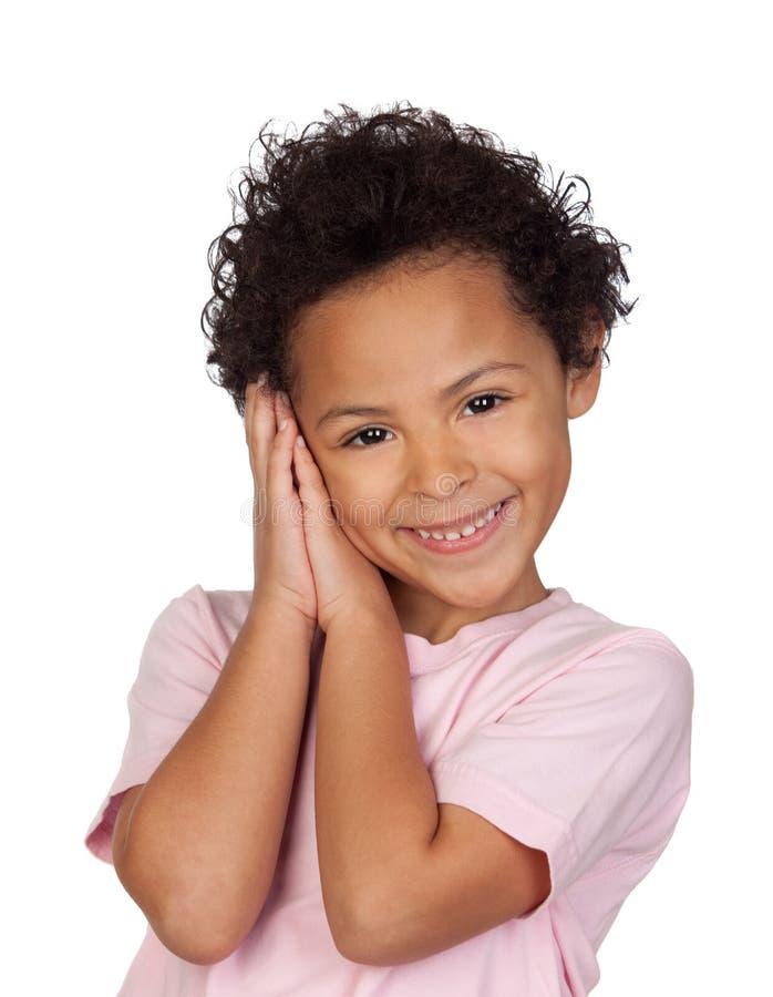 Lycklig Latinsk Barndanande Gesten Av Sömn Royaltyfri Bild