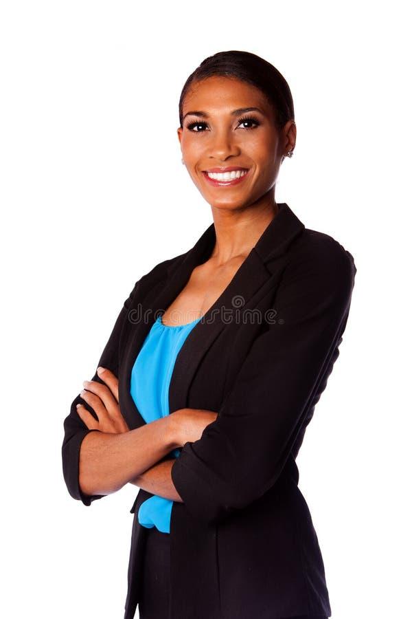 Lycklig le affärskvinna arkivfoto