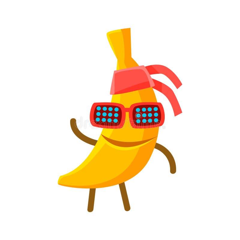 Lycklig le bananfrukt i solglasögon och bandana Färgrik illustration för teckentecknad filmvektor stock illustrationer