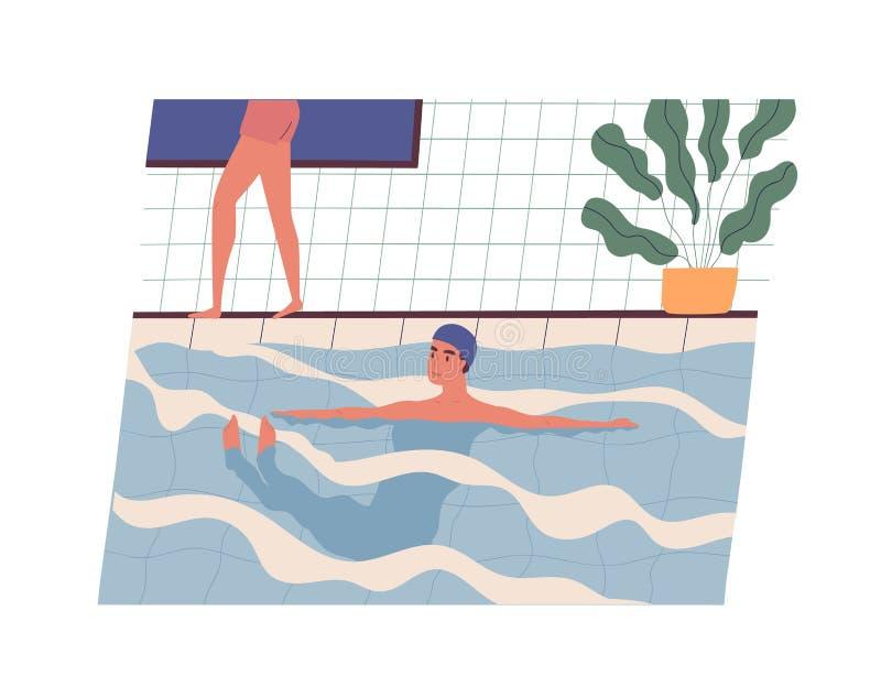 Lycklig le för badlock för ung man bärande simning i pöl Rolig grabb som utför fysisk aktivitet i vatten Dagliga sportar vektor illustrationer