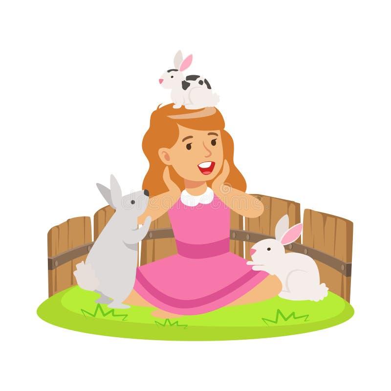 Lycklig le flicka som spelar med små kaniner i en mini- zoo Färgrik illustration för vektor för tecknad filmtecken stock illustrationer