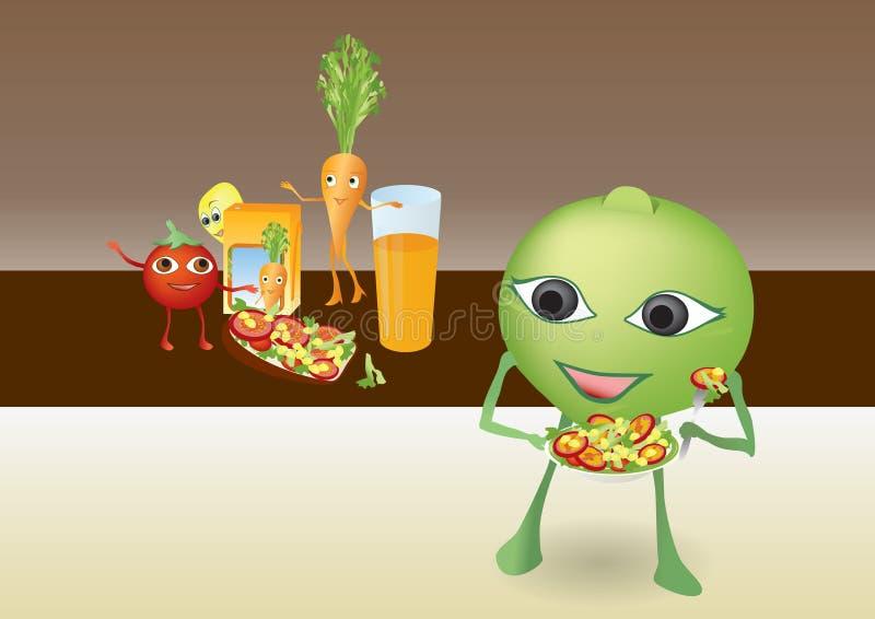 lycklig le grönsak för tecknad film royaltyfri foto