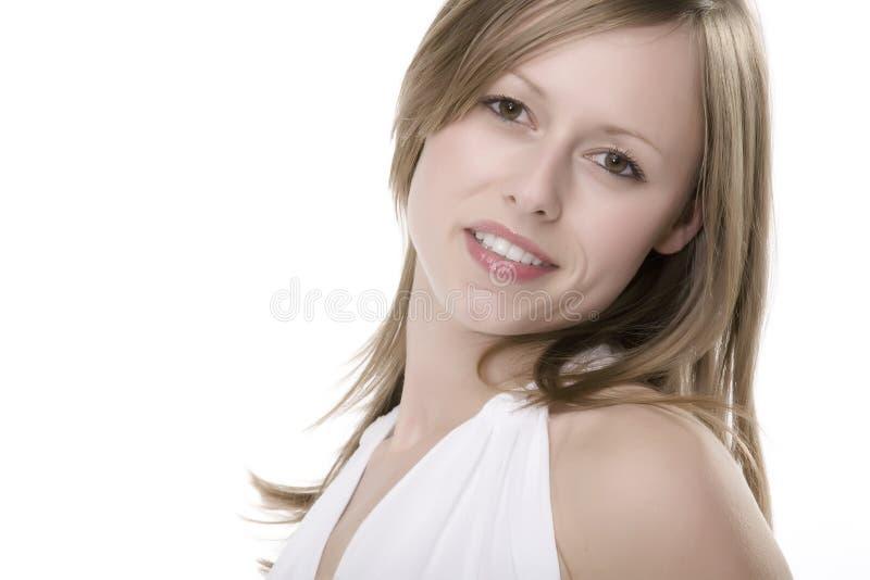 lycklig le kvinna arkivbilder