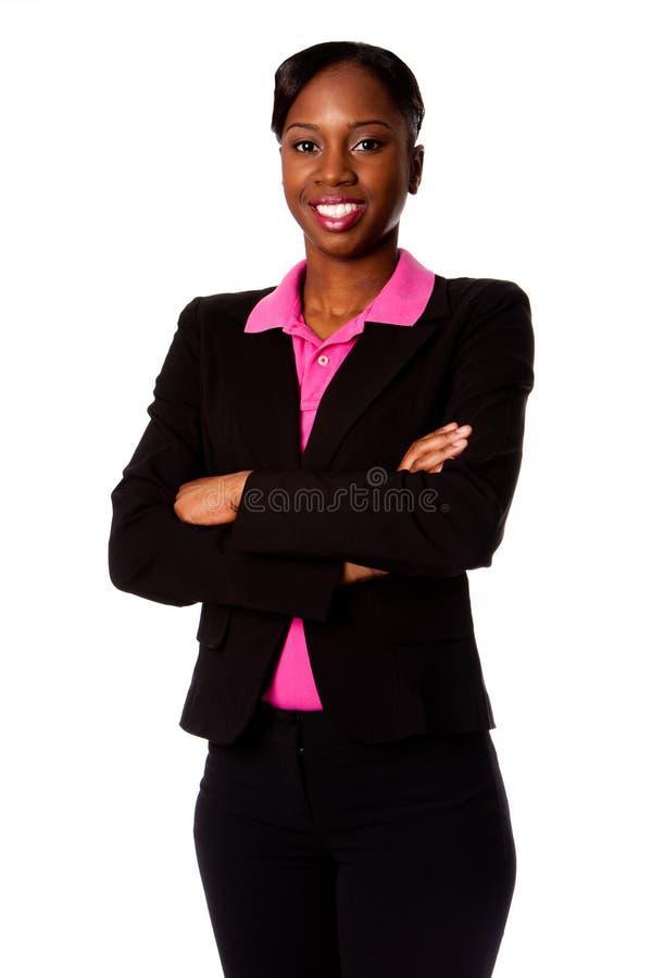 lycklig le kvinna för affär arkivbilder