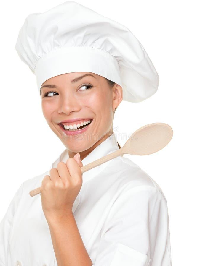 lycklig le kvinna för kock royaltyfria bilder